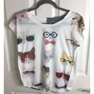 Adorable Kitty Cat Tee Shirt Cat Lovers Si…